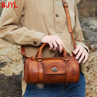 2020 genuine leather handbag women shoulder messenger bag female cylindrical bucket bag retro casual ladies lock cylinder bags