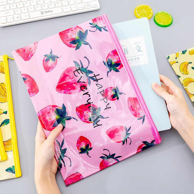 Yaratıcı meyve kalem çantası Kawaii örgü kalem kutusu dosya tutucu büyük PVC kalem kutusu kızlar için kore kırtasiye okul malzemeleri