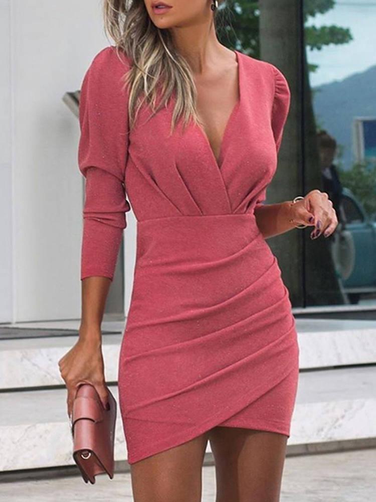Women's Dress Long-Sleeve Nightclub Pulse-Size Elegant Sexy Woman Movokaka Slim