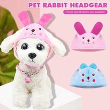 Pet Dog Hat Rabbit Ear Decor Costume Hat Small Pet Cat Kitten Cap Cute Cartoon Fleece Headgear Outdoor Adjustable Hat Pet Supply