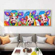 Modern Abstract Colorful Cows and Flowers Posters and Prints Canvas Paintings Wall Art Pictures for Living Room Decor No Frame
