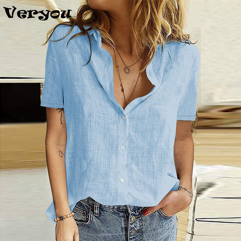 2021 Summer Shirt Women Solid Button Blouses Short Sleeve T-Shirt Tops Ladies Office Turn Down Collar Casual Plus Size Shirts