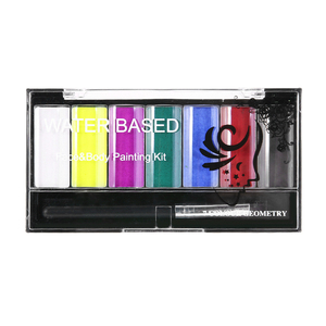 Kit de pintura corporal de 7 colores, pintura al óleo no tóxica para agua, conjunto de cepillo de tatuaje para maquillaje de alta calidad para fiesta de navidad