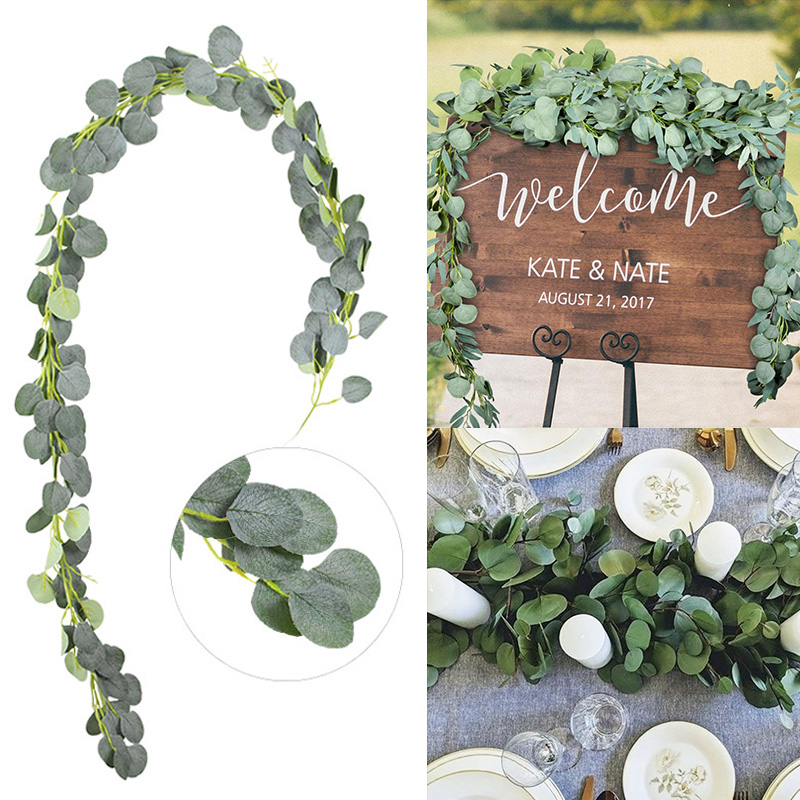 Искусственные зеленые листья эвкалипта, гирлянда, искусственные лозы из ротанга, искусственные растения, венок из плюща для свадебной вече...