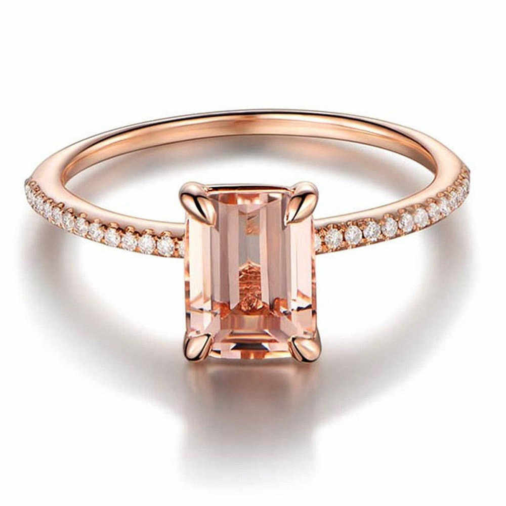 10# Woman Popular Jewelry Rings Rose Gold Engagement Ring With A Fine Small Square Zircon Ring Fashion Jewelry Rings 2020