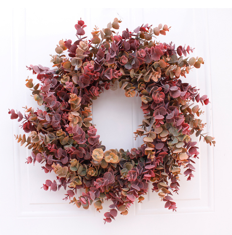 Soft Eucalyptus Wreath Multicolor 46cm Door Ornaments Wall Ornaments Christmas Decoration Portable Ornaments Party Supplies