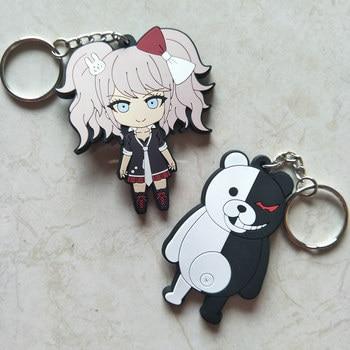 20 pcs/lot Danganronpa figure keychains toys Anime monokuma Enoshima Junko key ring bag pendants