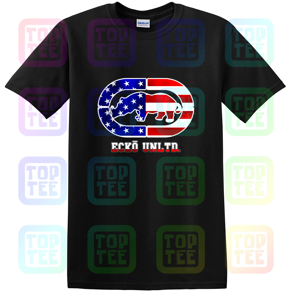 New Streetwear Mens Ecko Unltd Black T-Shirt Reflective Silver Outlined Usa Flag Slim Fit New Fashion Men Women Size S-3Xl
