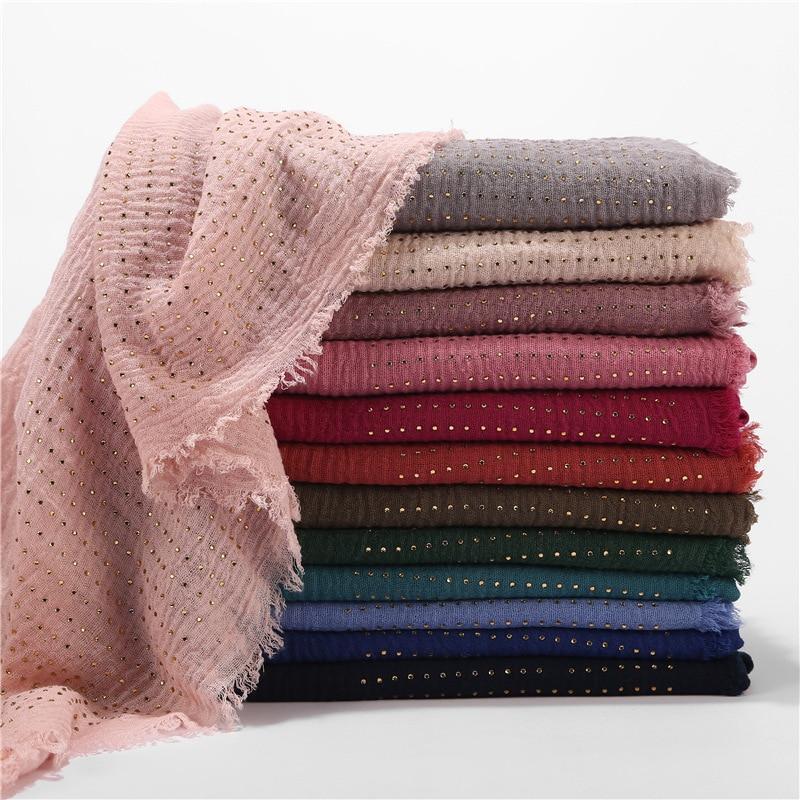 New Womens Solid Color Wrinkle Crinkle Muslim Plain Cotton Hijab Scarf Ladies Rhinestone Crystal Shimmer Glitter Scarves 2020