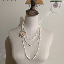 Luxo feminino layerd cristal flor pérola gargantilha colar jóias