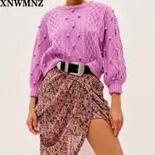 Xnwmnz za женский классический уютный вязаный свитер с помпоном