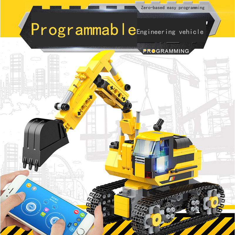 Multifunctional Children's Education Science And Education Intelligent Programming Assembling Building Block Type Excavator Toy