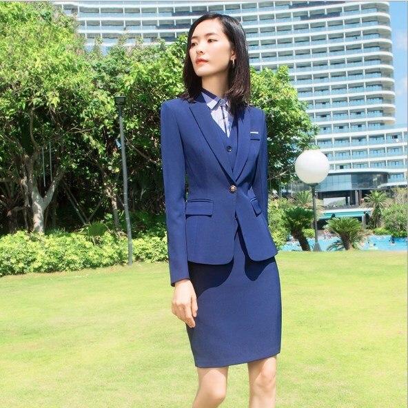 Women Three Piece Set Trouser Suits Office Women Blazer Vest and Pants Ladies Black Blue 3 Pieces Pants Skirts Suit Large Size