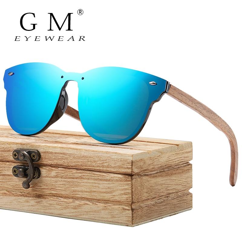 GM Polarized Rimless Walnut Wooden Frame Sunglasses Men Women Bamboo Mirror Flat Lens Driving UV400 Eyewear