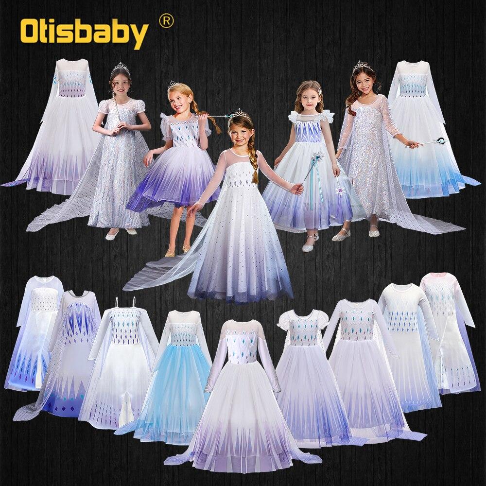 Schnee Königin Mädchen Elsa Kleid Sommer Weiß Pailletten Fee Lange Schwanz Kleider für Mädchen Kinder Elsa Kostüm Kleinkind Prinzessin Kleid