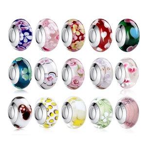 1 PC BAMOER Wholesale Silver Color Luminous European Brown Murano Glass Beads fit Bracelet Women Fashion Jewelry PA6366(China)