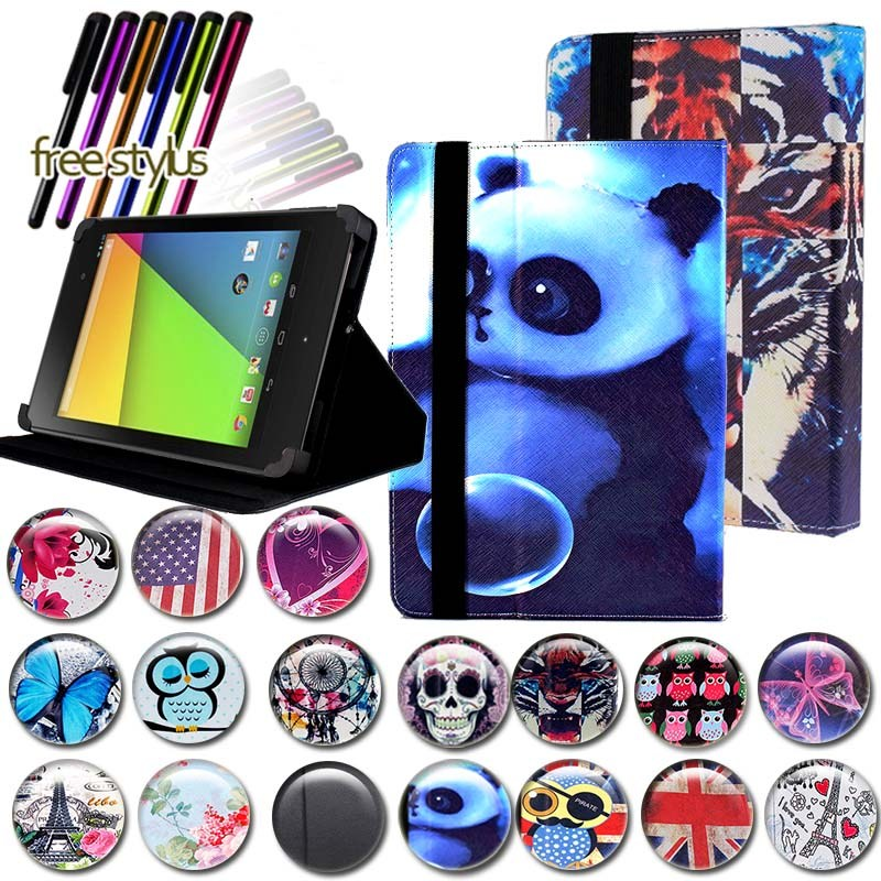 KK&LL For Google Nexus 7 (1st 2th , Gen 2012 Gen 2013) - Leather Tablet Stand Folio Cover Case + Free Stylus