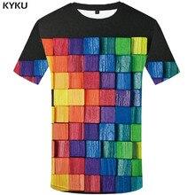KYKU Brand Graffiti T shirt Men Psychedelic Anime Clothes RubikS Cube T-shirts 3d Square Shirt Print Art Funny shirts