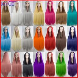 Perruque cosplay synthétique lisse longues blondes bleues, rouges, roses, grises et violettes pour fête, perruques pour femmes 100CM