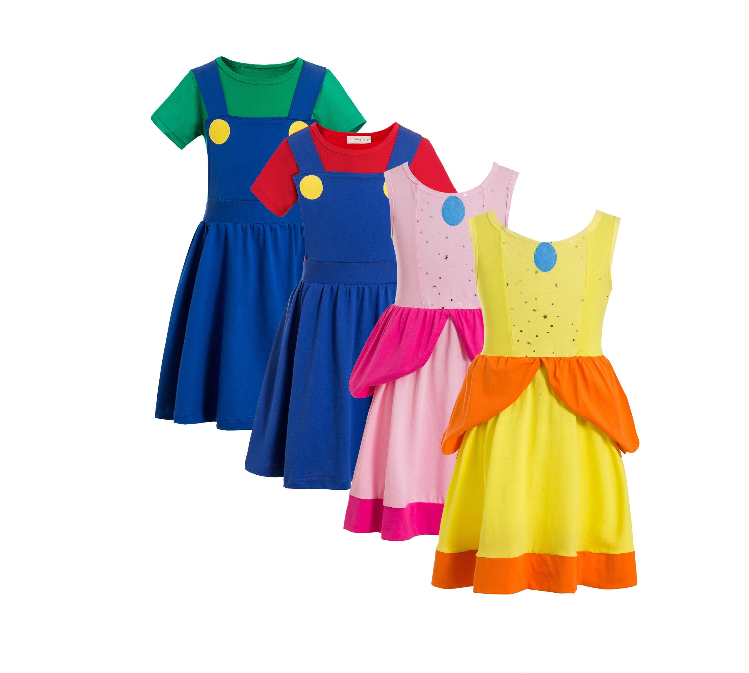Принцесса Персик классический костюм для девочек Супер Братья Хэллоуин Дети Косплей Костюм братья
