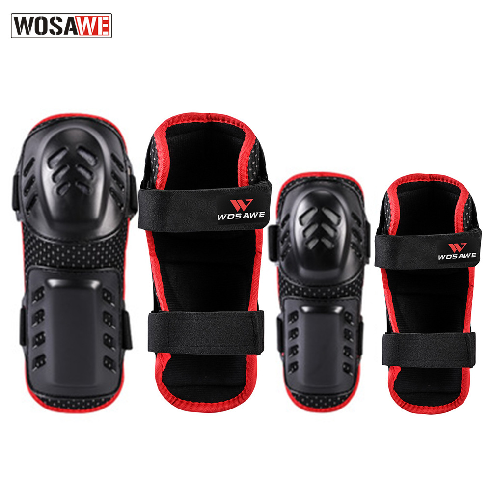 Wosawe Motorcycle Protective Gears Porous EVA Knee Protector Elbow Four-piece Set Shock-resistant Shatter-resistant Skating