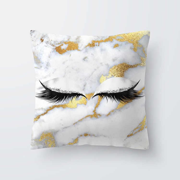 קריקטורה לאש ציפית אפרסק עור קטיפה כרית עטיפות 45x45 עבור ספה רכב זהב ורוד אפור כחול מכתב בית תפאורה נורדי עיצוב