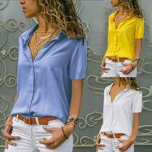 Frauen Einfarbig Einreiher Bluse Büro Dame Drehen Unten Kragen Kurzen Ärmeln Hemd Femme blusas 3XL Übergroßen 2021 Sommer Neue