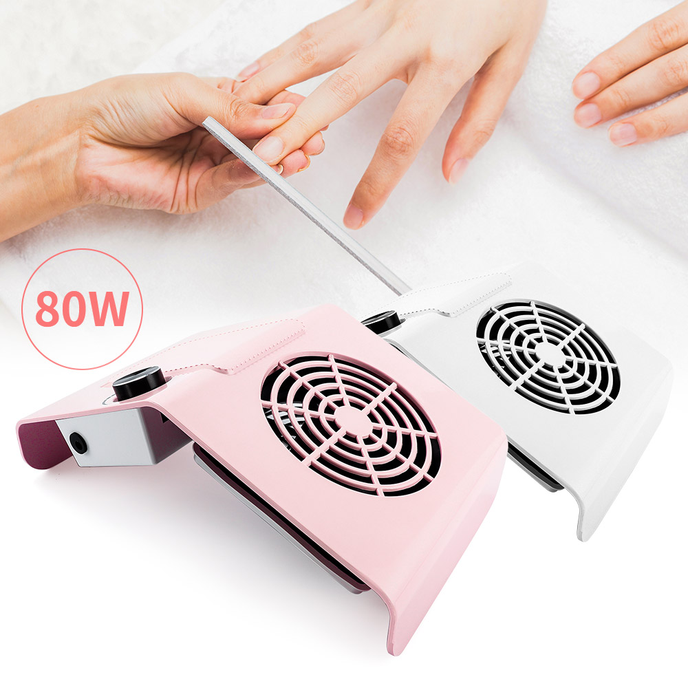 80W Nail Dust Collector Super Suction Strong Nail Vacuum Cleaner Manicure Device Nail Art Salon School Machine Adjustable Speed