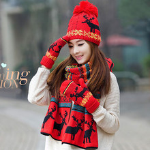Новая мода шарф шапка и перчатки наборы для женщин Рождество Лось снежинка теплые наборы студенческие акриловые теплые комплекты из трех предметов