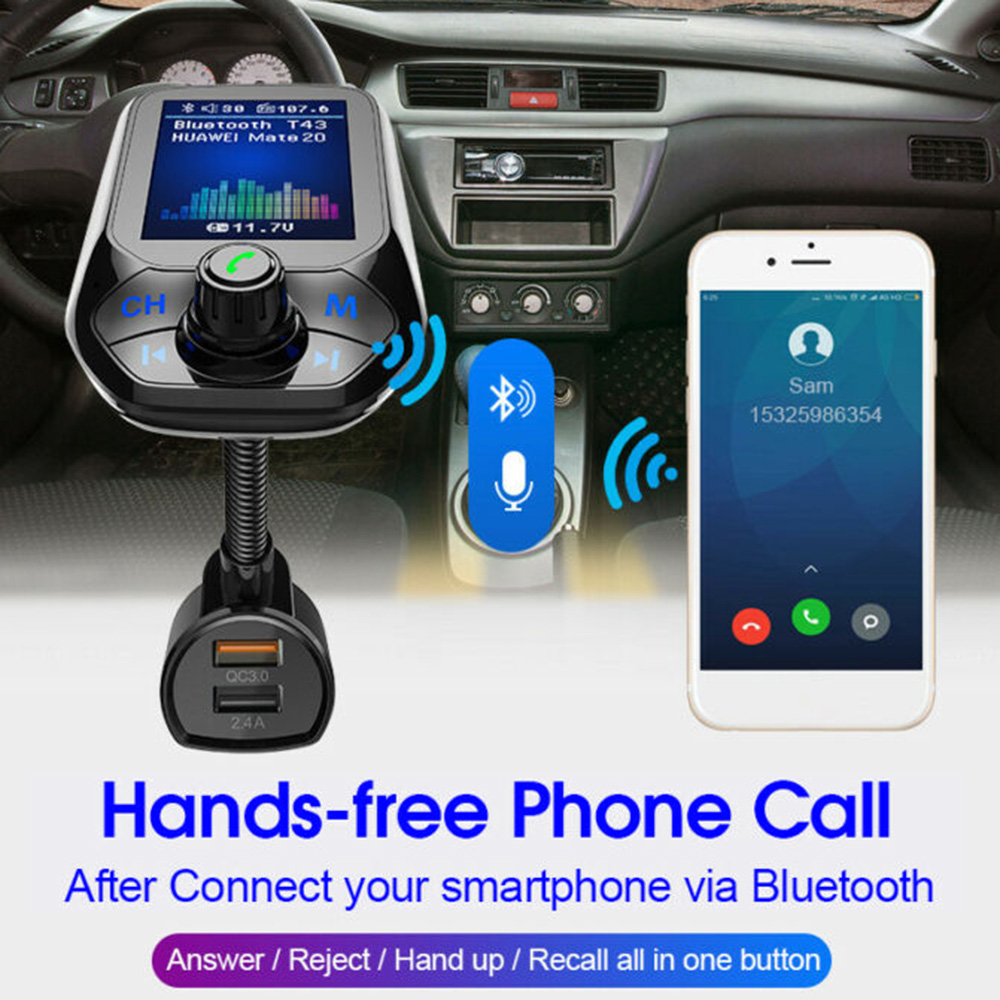 Hot <font><b>Fm</b></font> <font><b>Transmitter</b></font> <font><b>Bluetooth</b></font> 3.0 <font><b>Car</b></font> <font><b>Mp3</b></font> Player <font><b>Adapter</b></font> Battery Voltage Noise Reduction TF Card Hands-free Dual USB <font><b>Charger</b></font> image