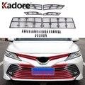 Для Toyota Camry LE/XLE 2018  2019  2020  АБС-пластик  автомобильная защита от насекомых  передняя решетка  вставные сетчатые аксессуары  автомобильный Стай...