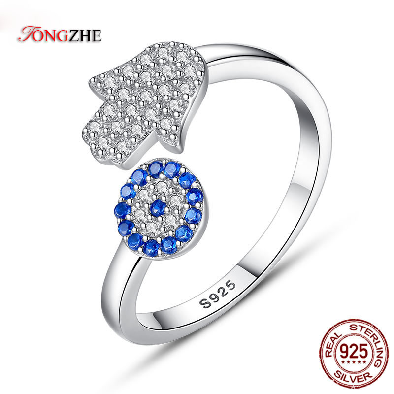 TONGZHE 925 Sterling Silver Evil Eye Ring Blue Eye Hamsa Hand Fatima Adjustable Female Rings Open Ring Women Wedding Jewelry