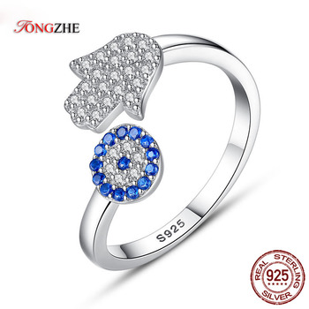 TONGZHE 925 Sterling Silver Evil Eye Ring Blue Hamsa Hand Fatima Adjustable Female Rings Open Women Wedding Jewelry - discount item  38% OFF Fine Jewelry