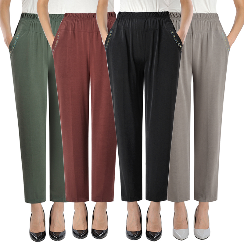 New Spring Summer Middl Aged Women Pants Elastic High Waist Casual Stretch Straight Pants Female Plus Size 5XL Loose Pants P181