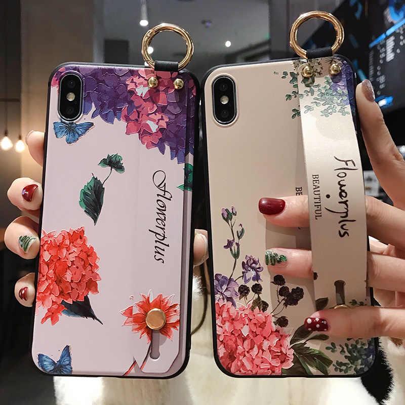 Hoa Điện Thoại Ốp Lưng Dành Cho Samsung Galaxy Samsung Galaxy S8 S9 S10 Plus S10E Note8 Note9 Note10 Plus A10 A20 A30 A50 a70 Cổ Tay Kèm Dây Đeo