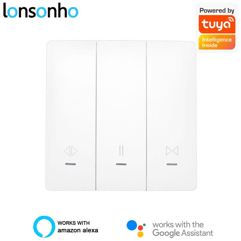 Lonsonho Tuya Smart Life Wifi Curtain Switch EU Smart Blinds Curtains Push Button Switches Smart Home Google Home Alexa Echo Dot