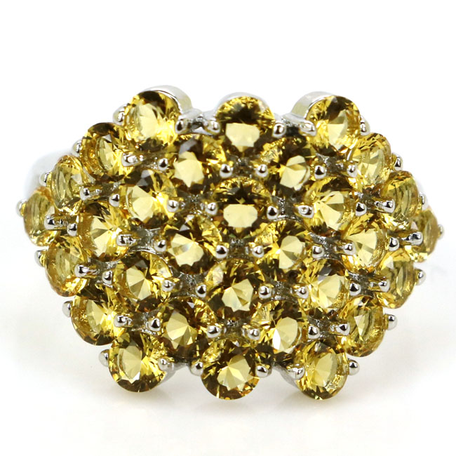 22x15mm  Romantic Golden Citrine SheCrown Ladies Wedding Silver Ring