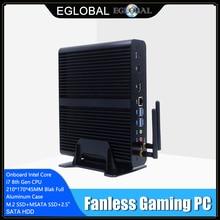 EGLOBAL bez wentylatora Mini PC i7 8565U 8550U 4 rdzeń 8 wątków 2 * DDR4 M.2 + Msata + 2.5 komputer stacjonarny SATA Windows 10 DP HDMI HTPC
