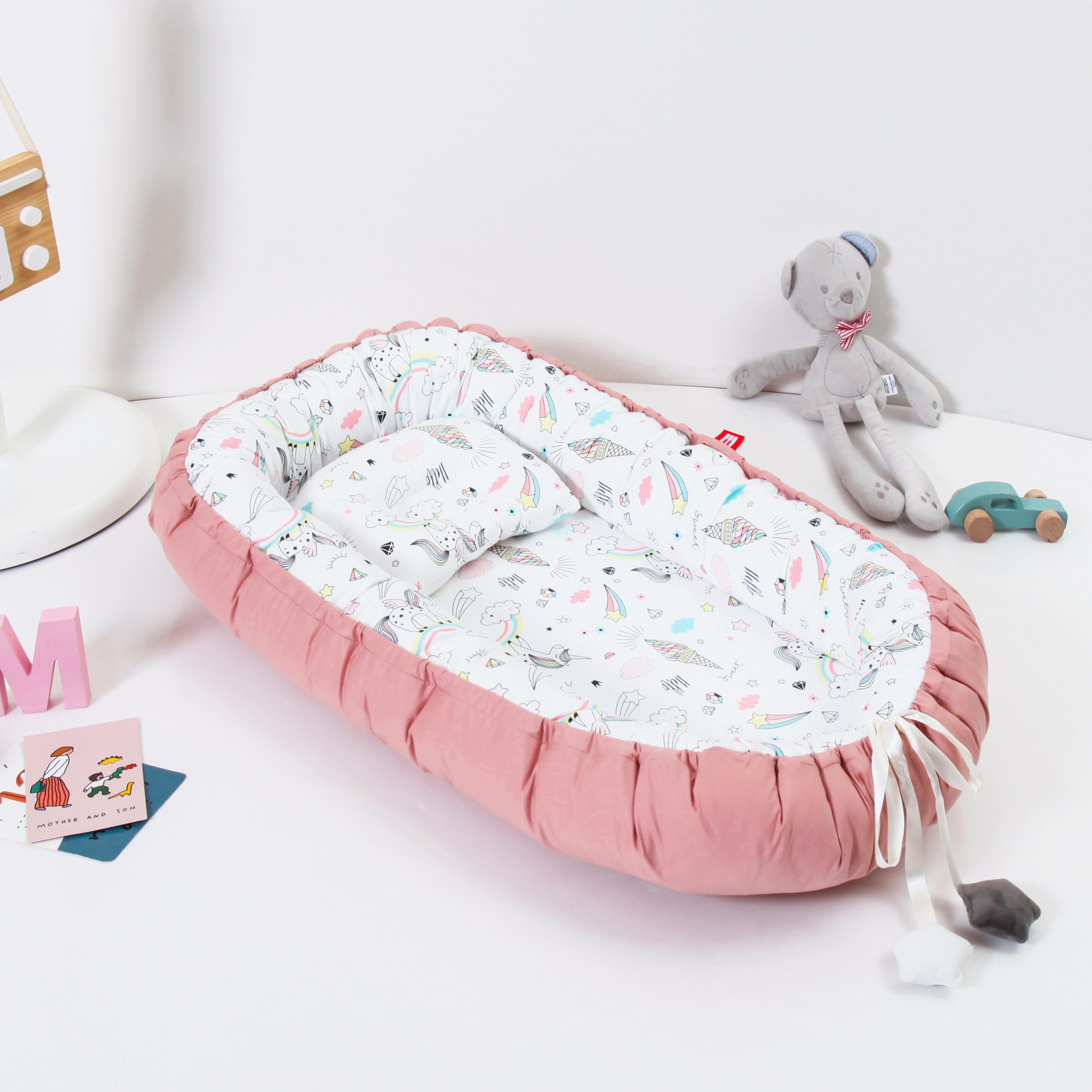 85X50cm Portable Baby Bed Newborn Crib Nest Mattress Baby Cradle With Pillow Removable Bed Pad