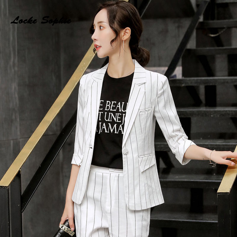 Women's Plus Size Blazers Coats 2020 Spring Cotton Middle Sleeve Single Button Small Suits Jackets Ladies Skinny Blazers Suits