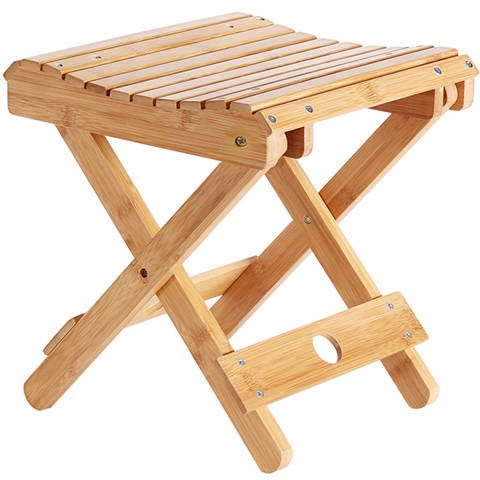 Bamboo folding stool portable home solid wood Mazar outdoor fishing chair small bench stool square stool|  -