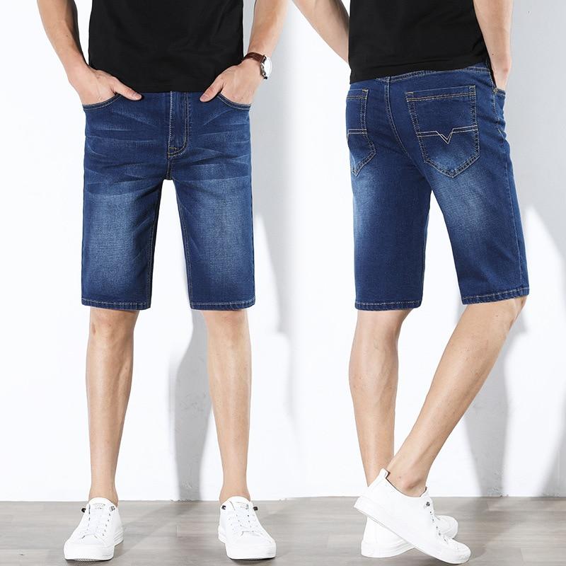 MEN'S Wear Summer MEN'S Jeans Shorts MEN'S Jeans New Style Men Slim Fit Thin Straight-Cut Elasticity Shorts Men's