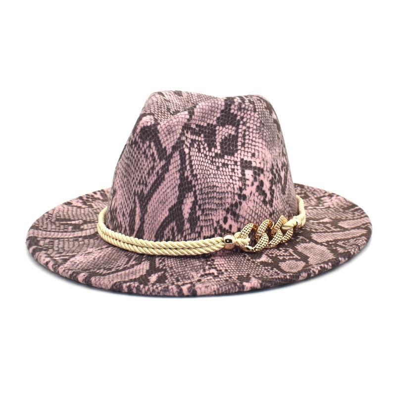 New lady's woolen Felt hat Snake-print vintage outdoor man's jazz hat fedora hat for women