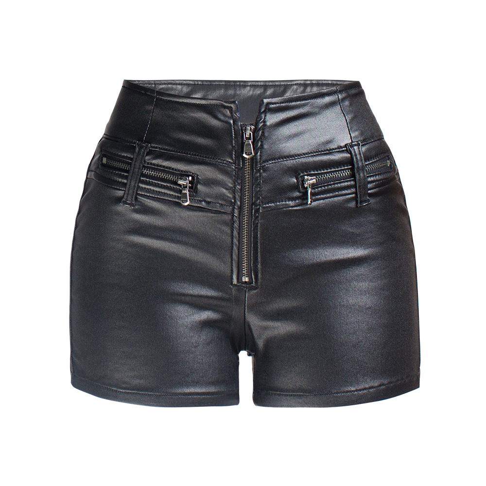Fall And Winter  Women Stretchy Faxu Leather Shorts High Waist Shorts Zipper Motorcycle Pu Hot Pants Short Mujer Clubwear