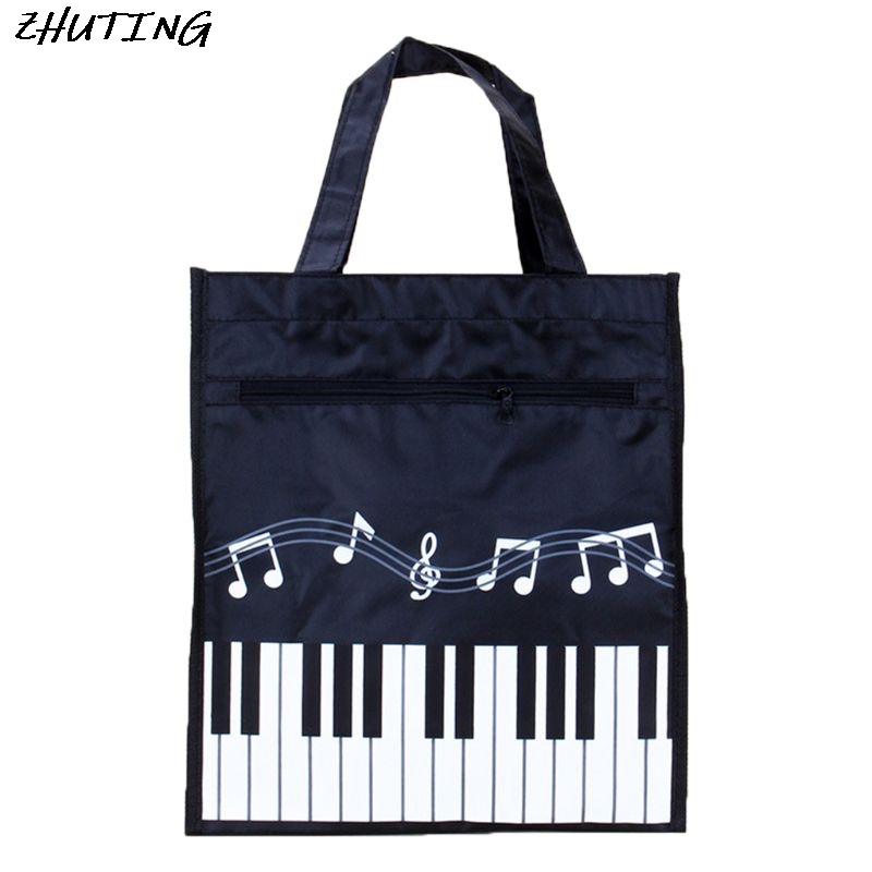 Piano Keyboard Music Note Women Tote Handbag Shoulder Shopping Bag Waterproof Oxford Cloth Large Capacity