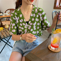 2019 Summer New Style Retro Hong Kong Flavor Short Sleeve Daisy Printed Contrast Color Tops Non mainstream Loose Fit Suit Collar