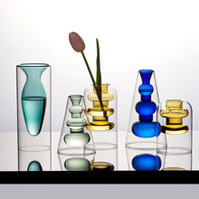 Crystal Vases Desk-Decoration Flower-Base Hydroponic Stained Interior Living-Room Nordic Home