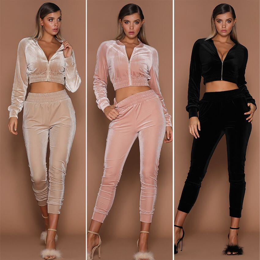 Two Piece Set Sweatsuits Sets Women Tracksuit Velour Short Top And Pant Zipper Jacket Casual Sportswear Female  Autumn Winter