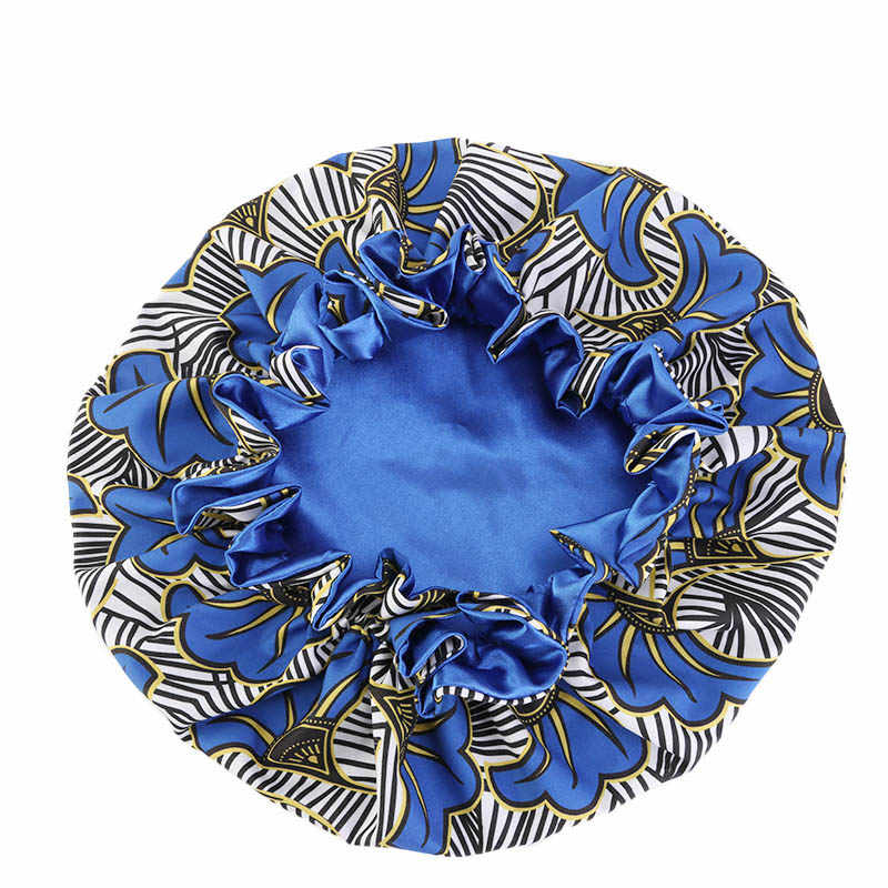 Color : Y Womens Extra Large Double Layered Bonnet Satin Lined Floral Print Patterned Night Cap Elastic Band Sleep Turban Chemo Hat