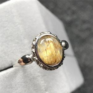 Image 4 - 12X10Mm Natuurlijke Gold Rutielkwarts Ring Voor Vrouw Man Crystal Oval Kralen Zilveren Fashion Maat Verstelbaar Ring sieraden Aaaaa